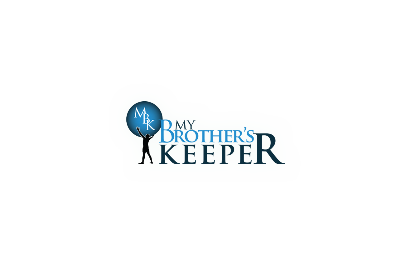 Logo. Man holding an atlas with MBK in the middle of the atlas. The words My Brothers's Keeper is place to the right of the image.